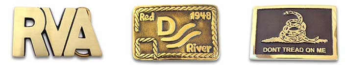 Modern buckles; RVA, Red River, Don't Tread On Me, etc.